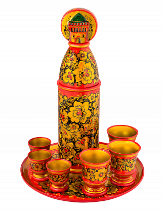 "Set for wine "" Nizhegorodsy Kremlin"" № 2 8 pcs.( bottle holder 395*105? Glas 90*75- 3 pcs., plate 300*20)"